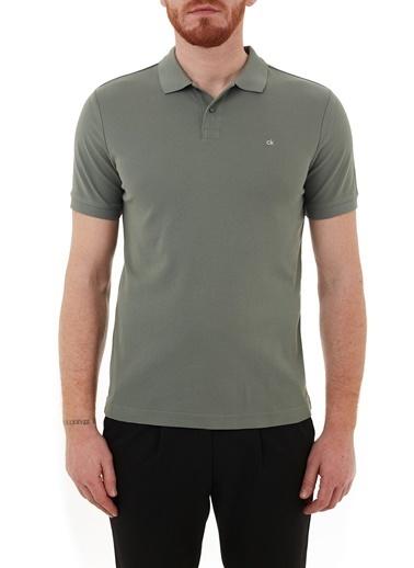 Calvin Klein  Slim Fit % 100 Pamuk Düğmeli Polo T Shirt Erkek Polo K10K102758 Laı Haki